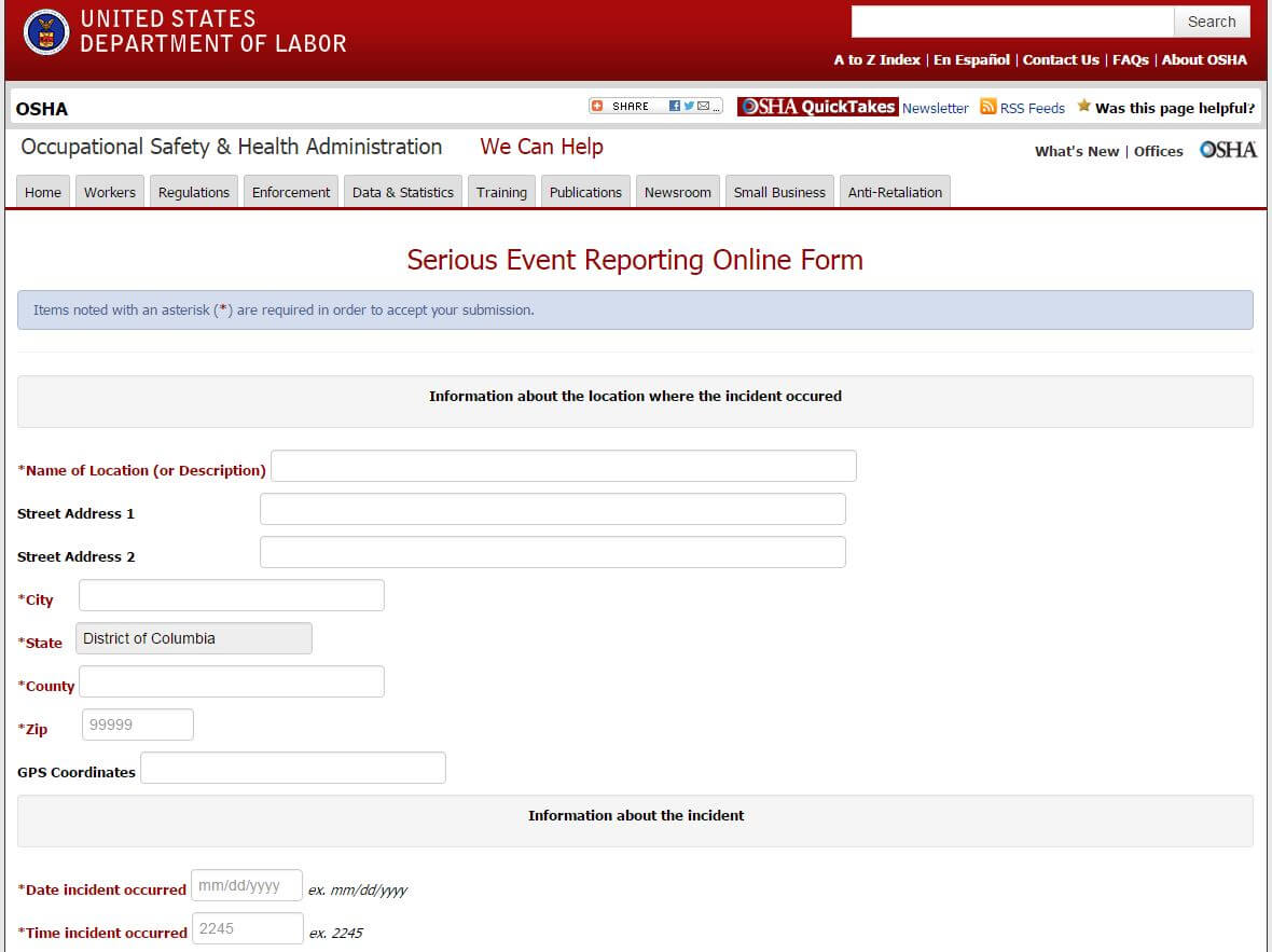 OSHA Online Injury