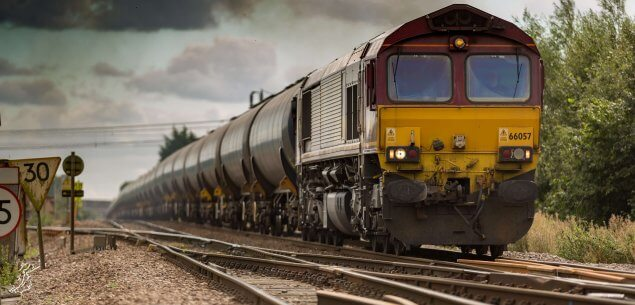 Train on track.