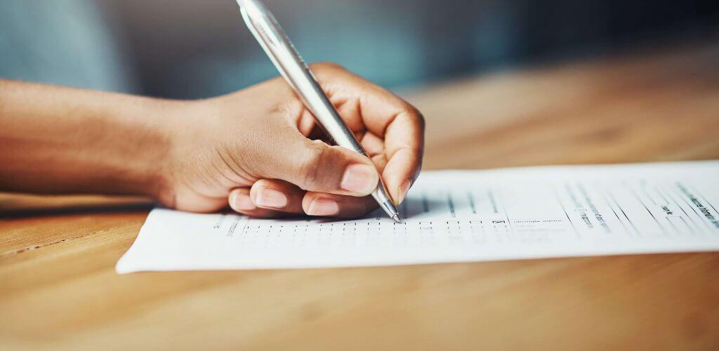 Hand writing on document.