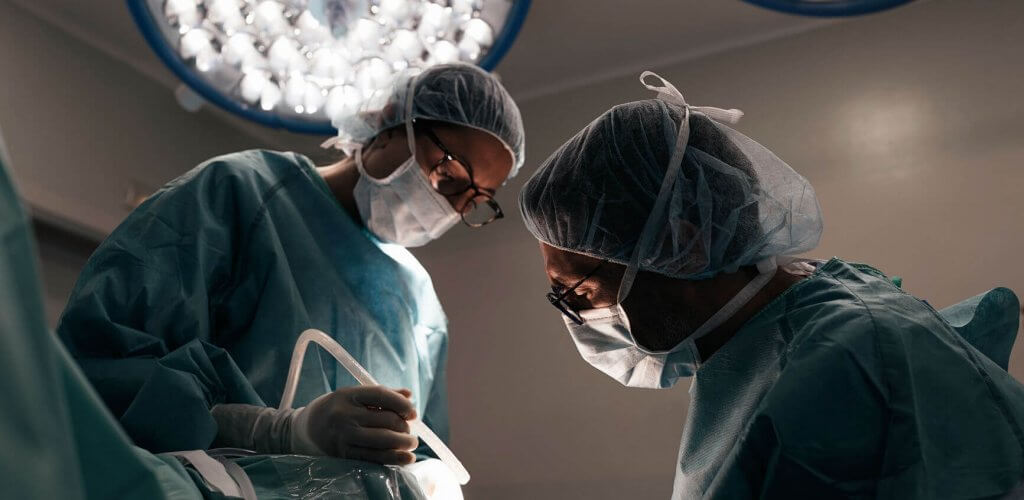 Two surgeons in operating room.