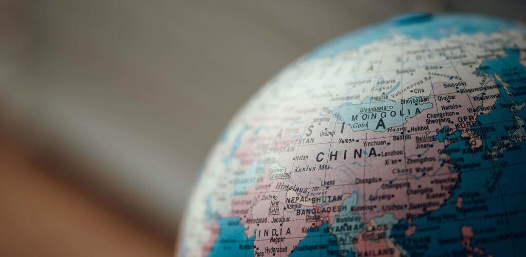 Close up of world globe.