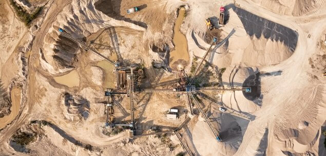 Aerial view of a mine pit