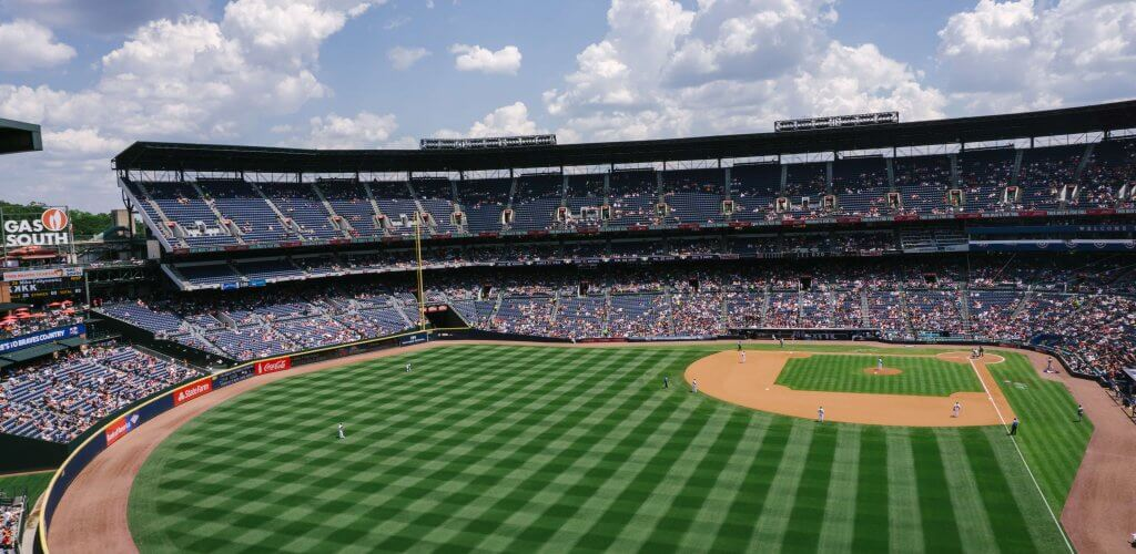 Baseball diamond and stadium.