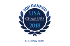 Top ranked USA Chambers' 2018 Leading Firm