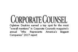 "Corporate Counsel – Ogletree Deakins earned a top spot for the most ""overall mentions"" in Corporate Counsel magazine's annual ""Who Represents America's Biggest Companies"" 2017 report"