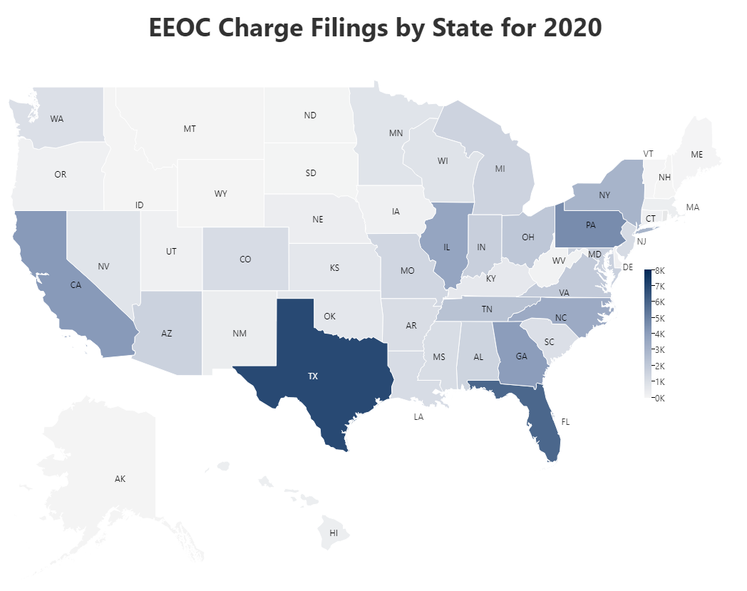 EEOC Charge Filings by State for 2020 Map