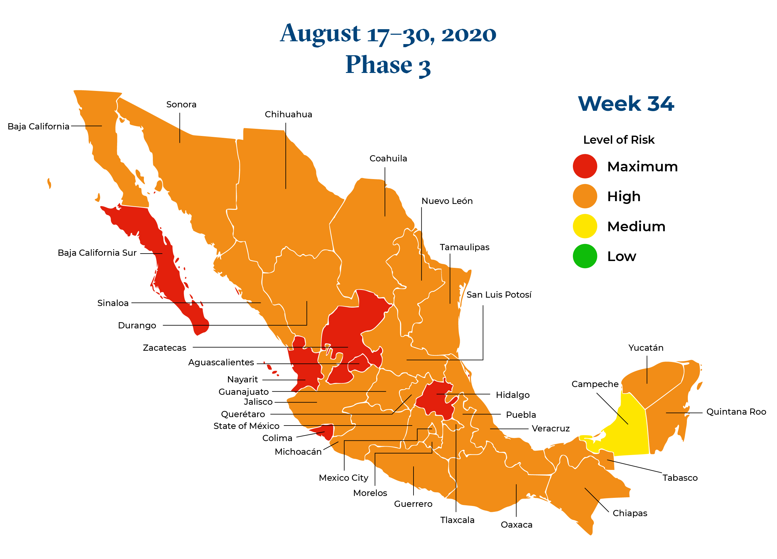 Mexico August 17 2020 to August 23 2020 Phase 3 Map