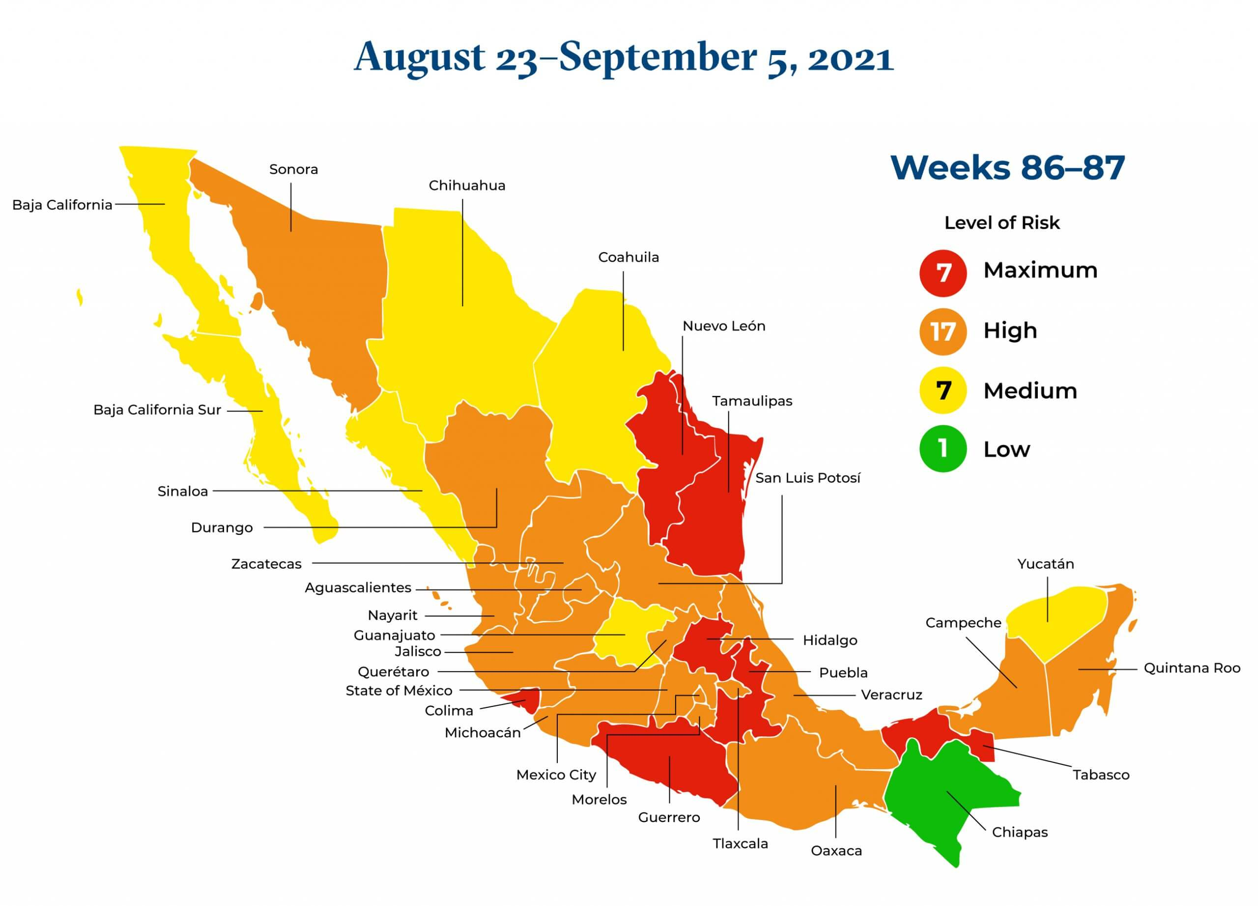 Mexico August 23 to September 5 2021 Map