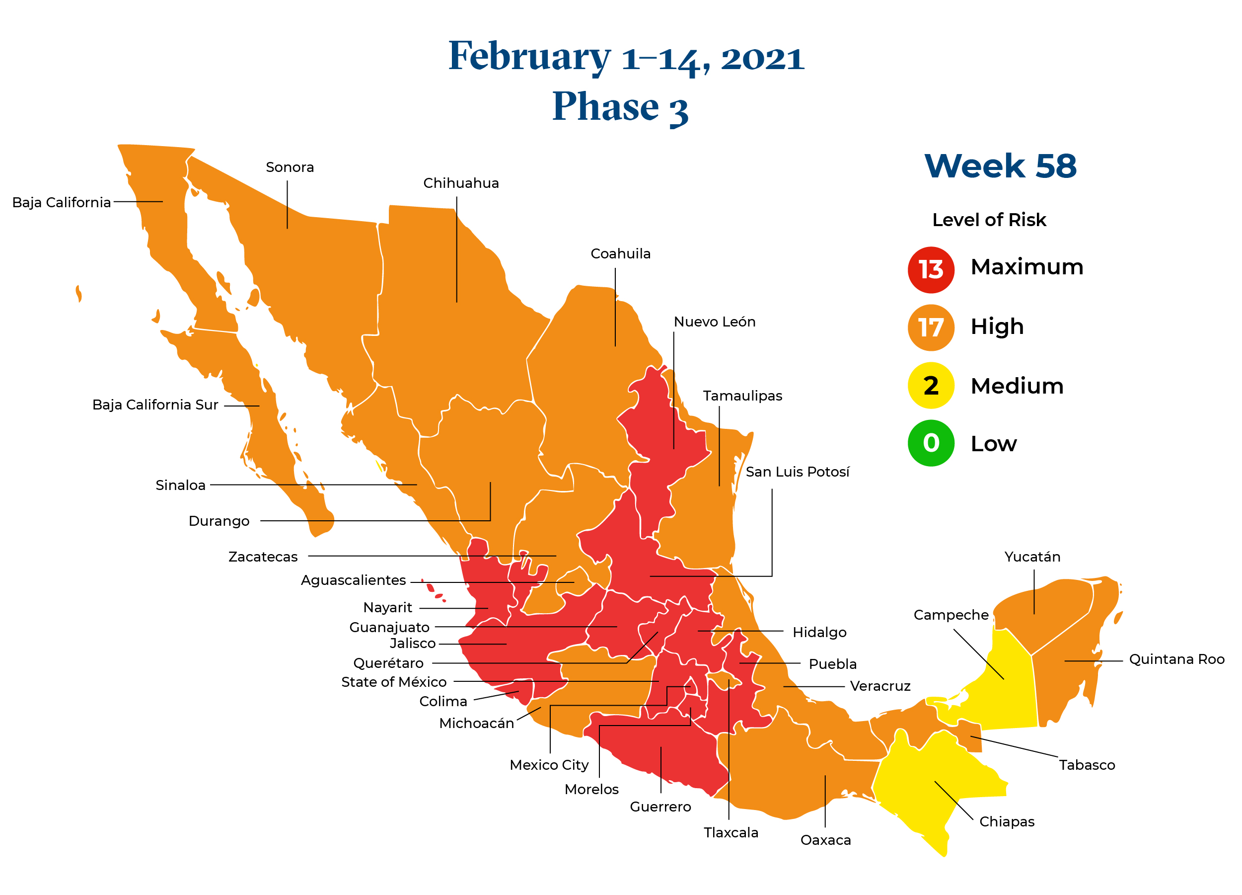 Mexico February 1 2021 to February 14 2021 Phase 3 Map