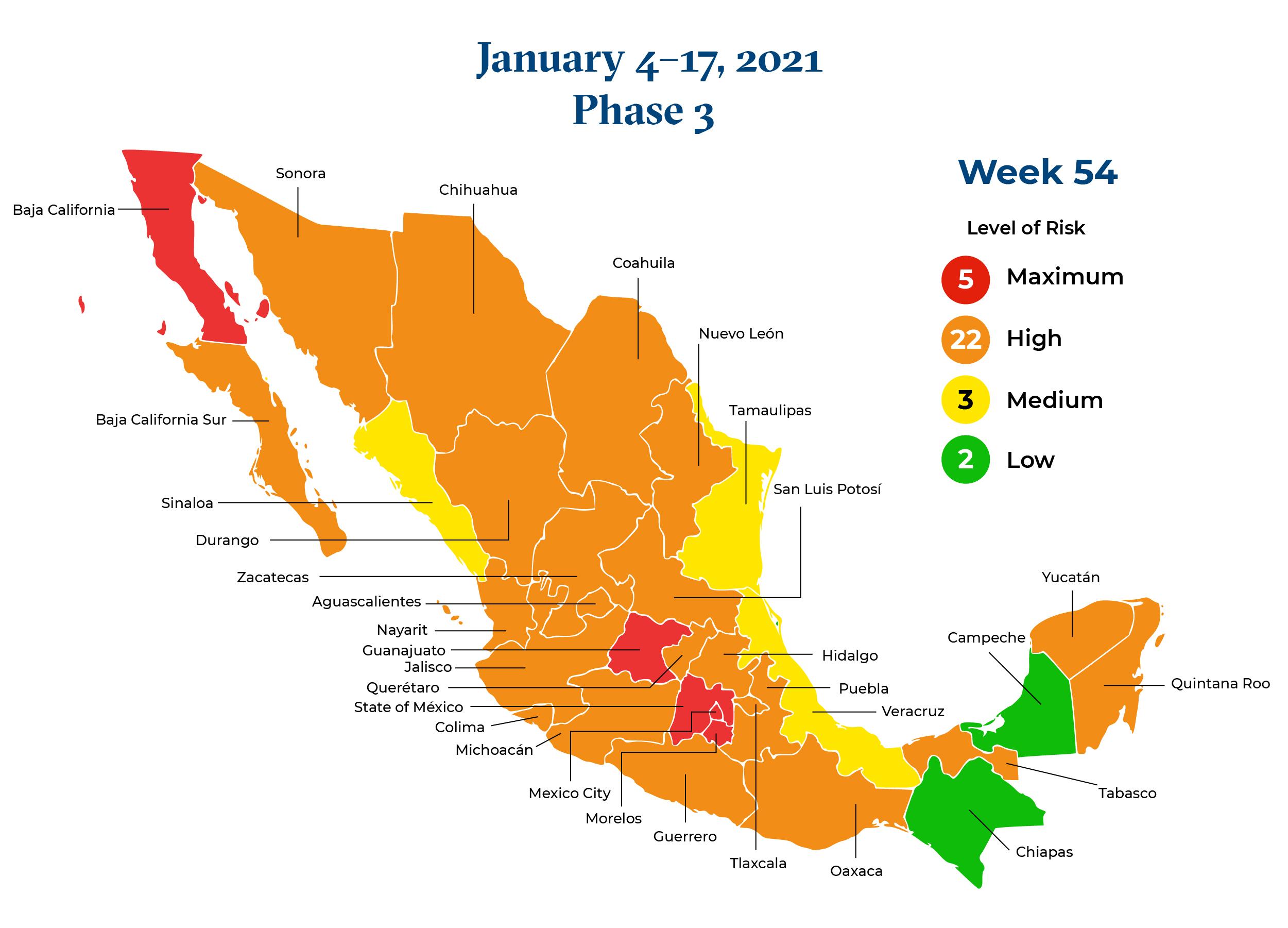 Mexico January 4 2021 to January 17 2021 Phase 3 Map
