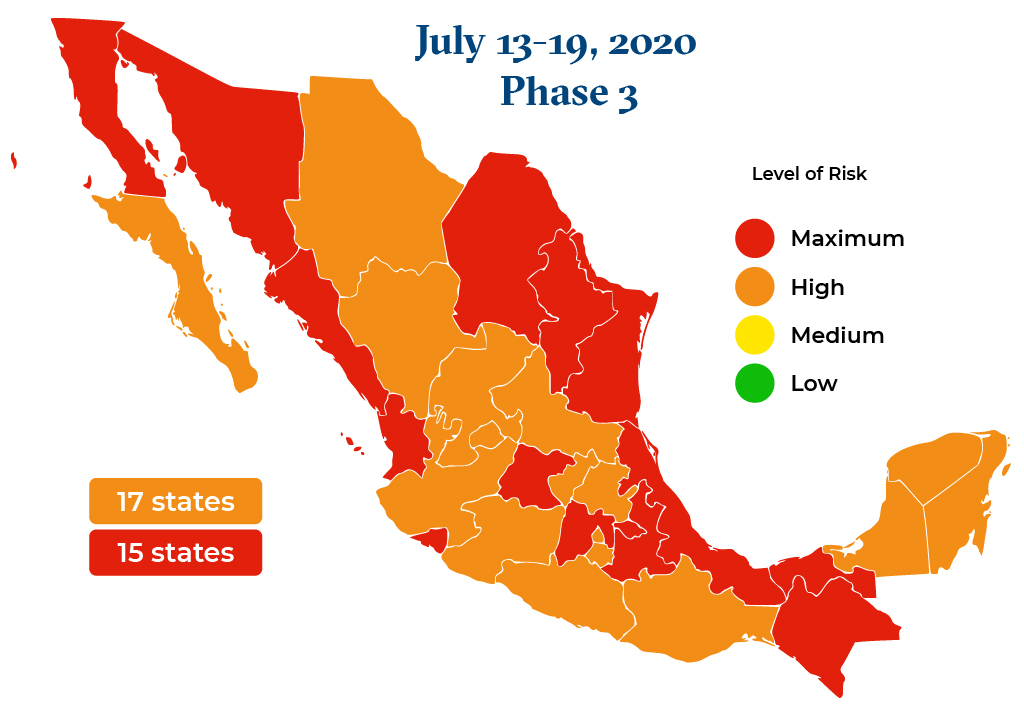 Mexico July 13 2020 to July 19 2020 Phase 3 Map