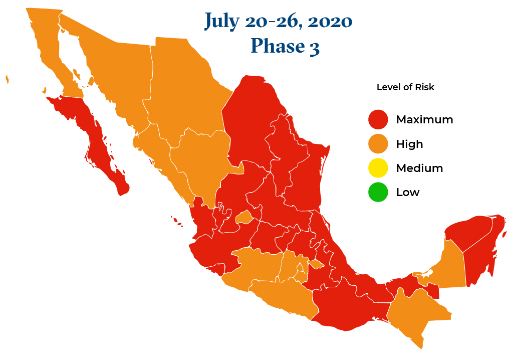Mexico July 20 2020 to July 26 2020 Phase 3 Map