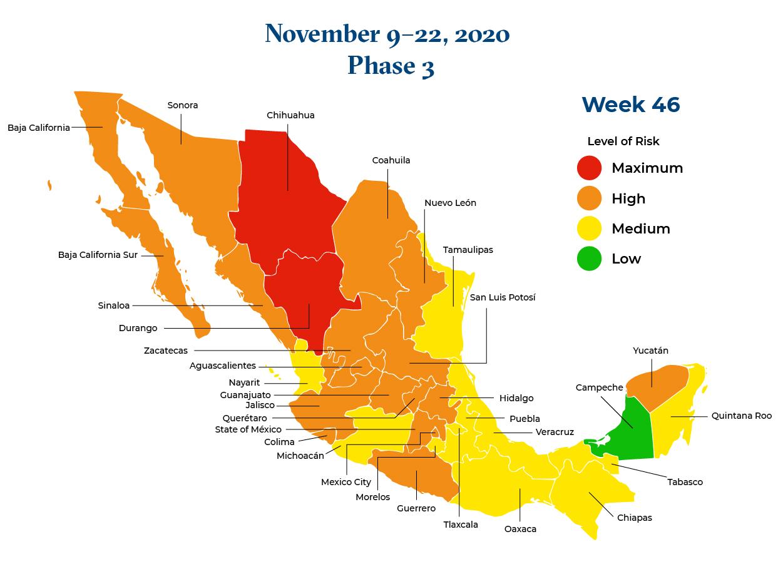 Mexico November 9 2020 to November 22 2020 Phase 3 Map