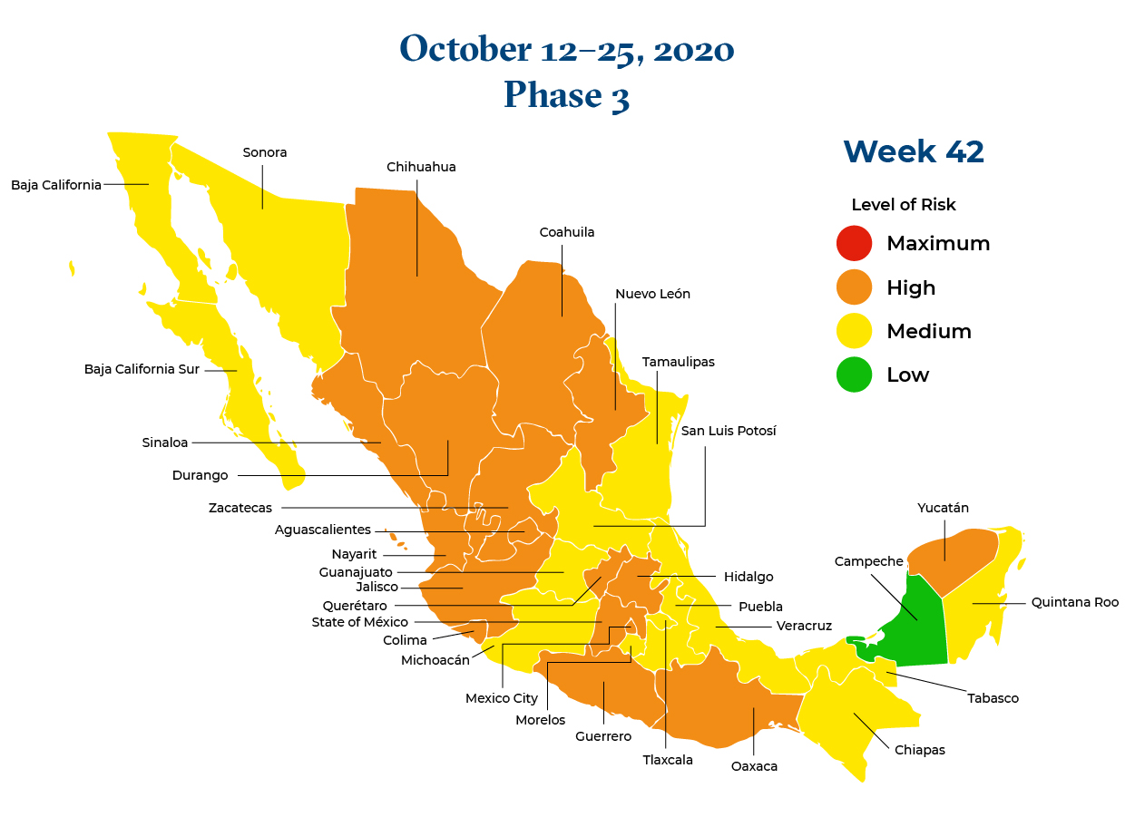 Mexico October 12 2020 to October 25 2020 Phase 3 Map