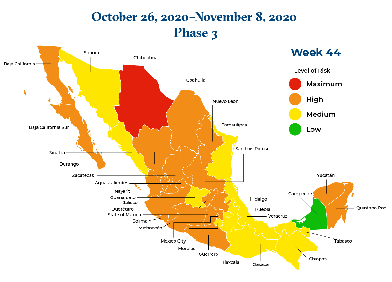 Mexico October 26 2020 to November 8 2020 Phase 3 Map