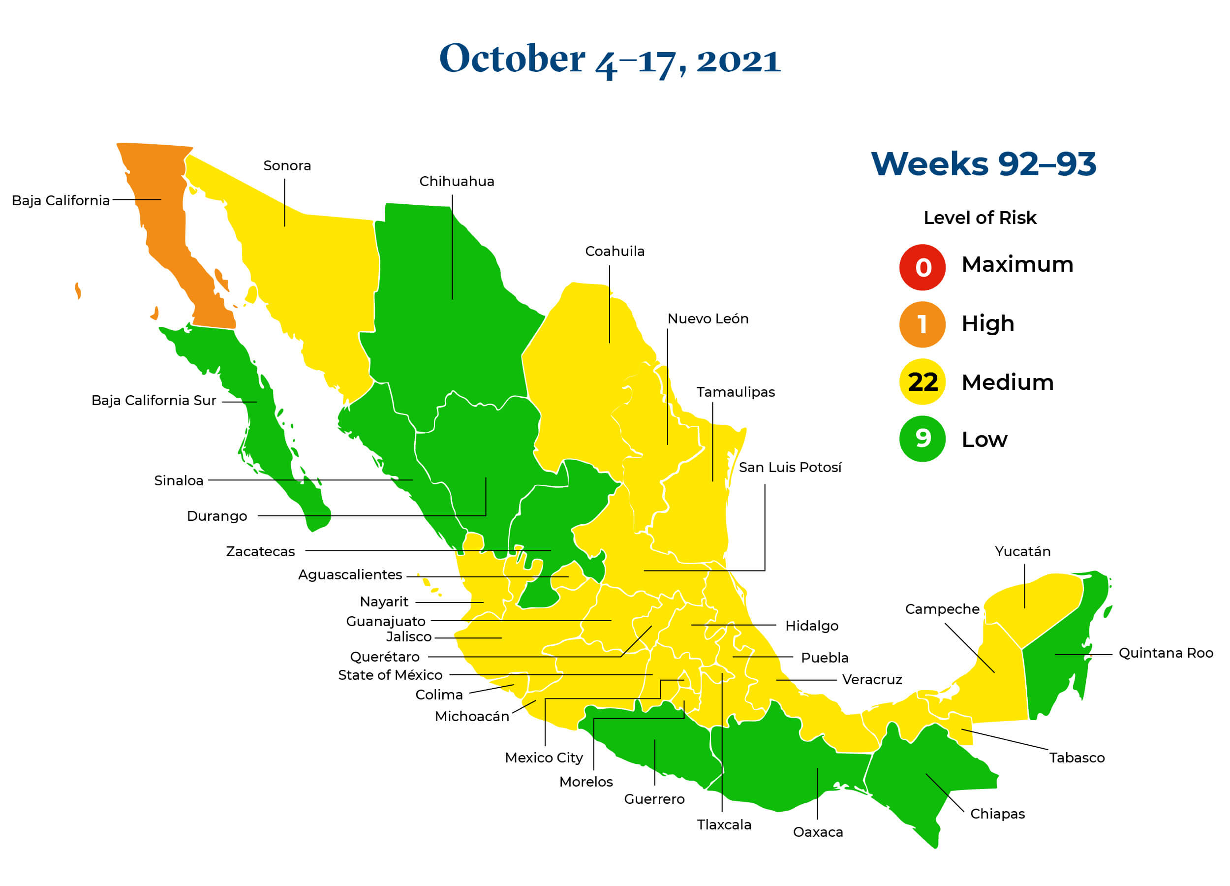 Mexico October 4 to October 17 2021 Map