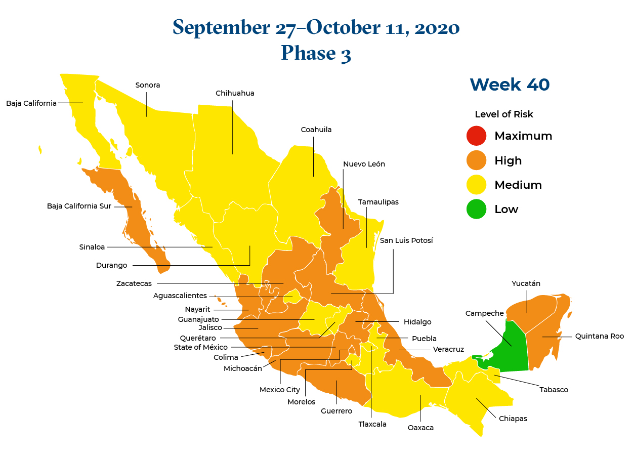 Mexico September 27 2020 to October 11 2020 Phase 3 Map