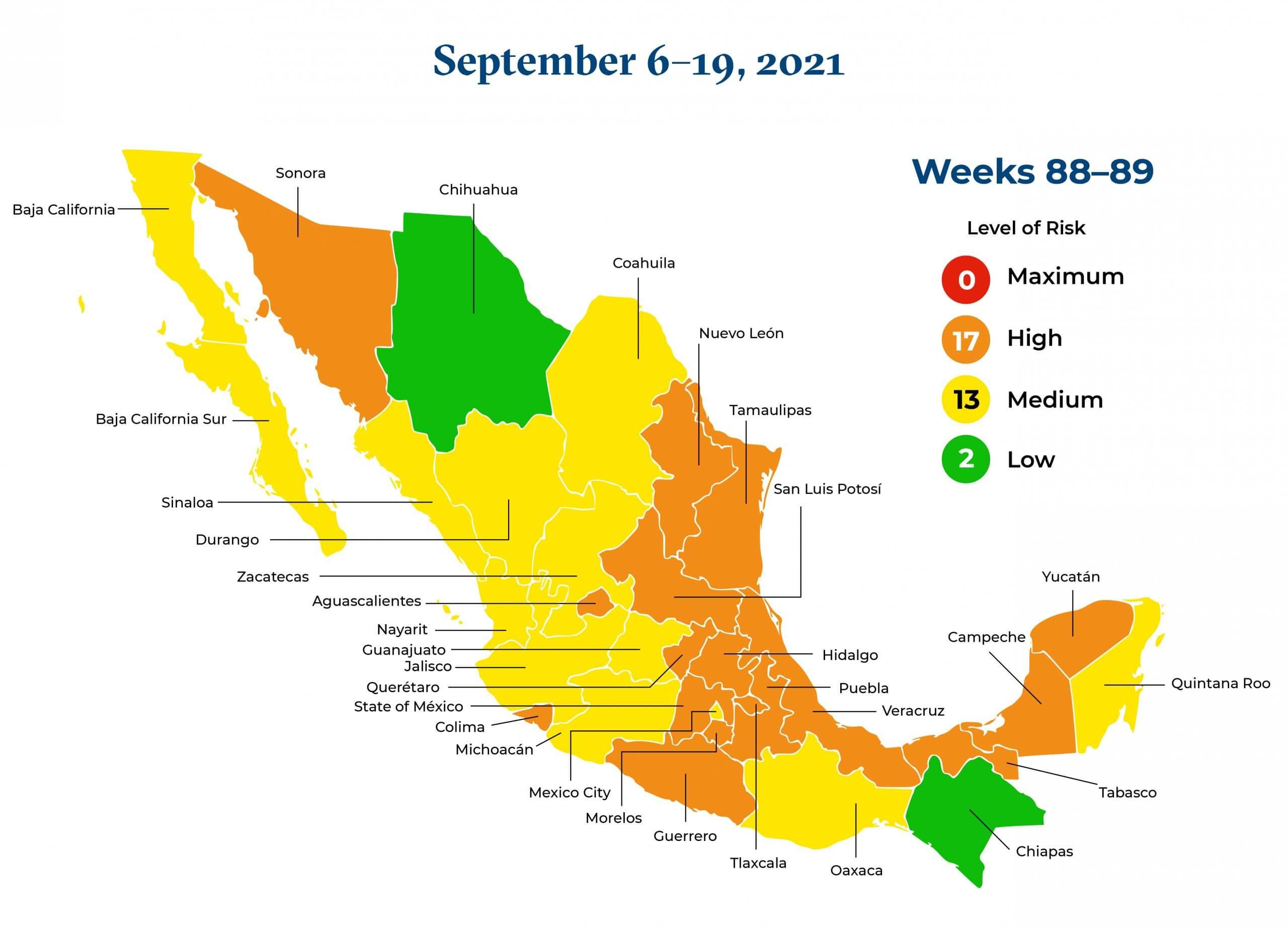 Mexico September 5 September 19 2021 Map